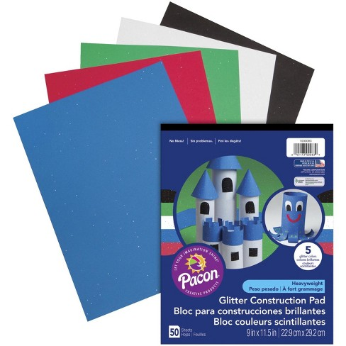 Pacon Glitter Construction Paper Pad, 9 x 11-1/2 Inches, Assorted Colors, 50 Sheets - image 1 of 3