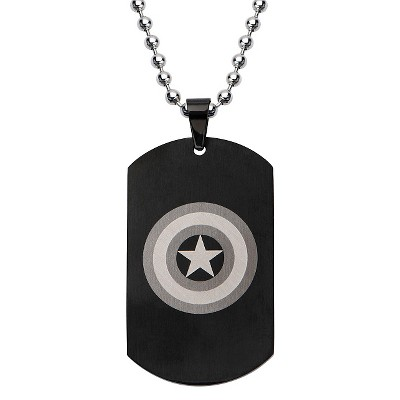 "Men's Marvel Avengers Captain America Stainless Steel Dog Tag with Ball Chain - Black (24"")"