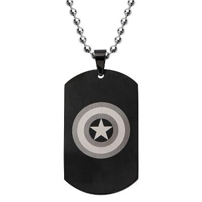 "Men's Marvel Avengers Captain America Stainless Steel Dog Tag with Ball Chain - Black (24"")"