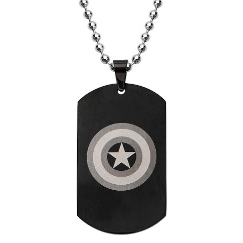 "Men's Marvel Avengers Captain America Stainless Steel Dog Tag with Ball Chain - Black (24"") - image 1 of 2"