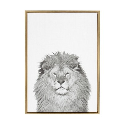 """23"""" x 33"""" Sylvie Lion Framed Canvas by Simon Te Tai Gold - Kate and Laurel"""