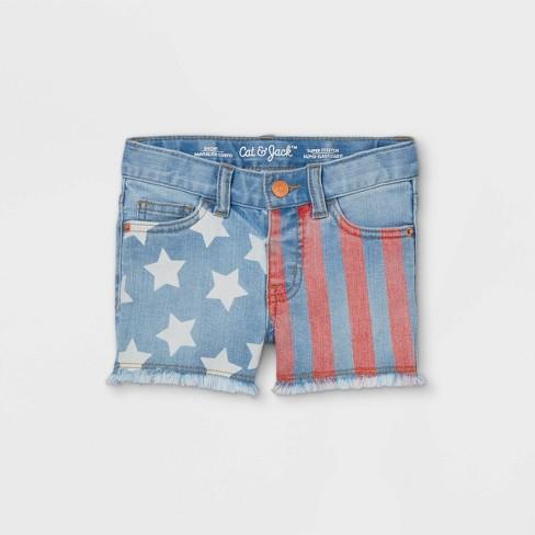 Toddler Girls' Flag Jean Shorts - Cat & Jack™ Light Blue - image 1 of 3