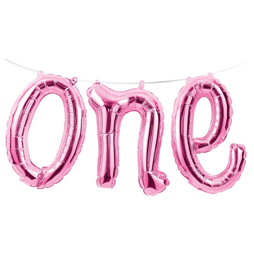"Image of ""1st Birthday Girl """"One"""" Balloon Banner"""