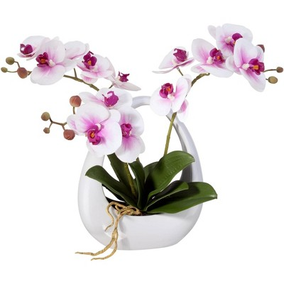 """Dahlia Studios Pink White Phalaenopsis Orchids 13"""" Faux Floral in White Pot"""