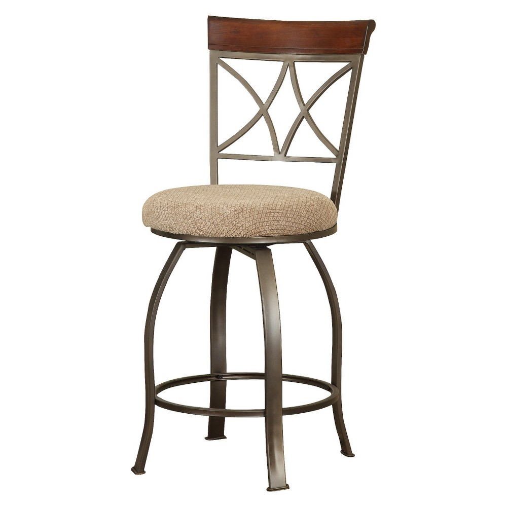 "Image of ""24"""" Carter Swivel Counter Stool Tan/Cherry - Powell Company"""