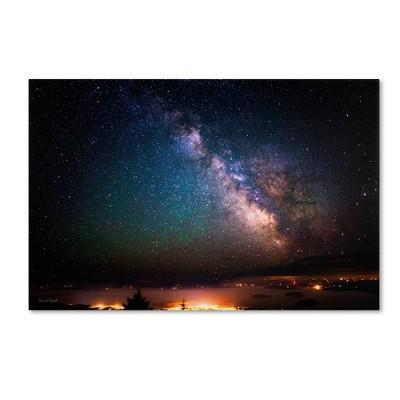 "22"" x 32"" Milky Way Over Acadia National Park Maine' by David Ayash - Trademark Fine Art"