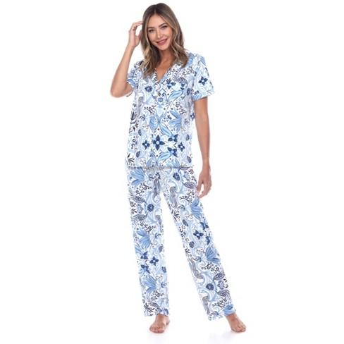 Women's Short Sleeve Top and Pants Pajama Set - White Mark - image 1 of 4