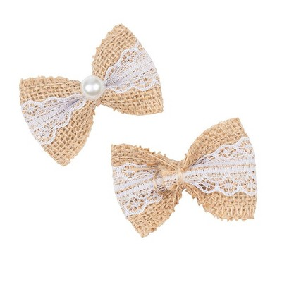 "Genie Crafts 24-Pack Burlap Ribbon Bows with White Lace and Pearls, Brown 2.75""x1.9"""
