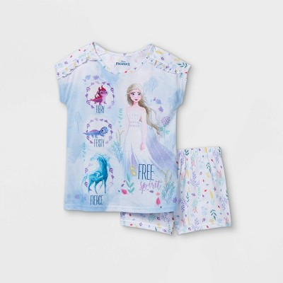 Girls' Frozen Fiery Fierce Feisty Free Spirit 2pc Pajama Set - Blue/White