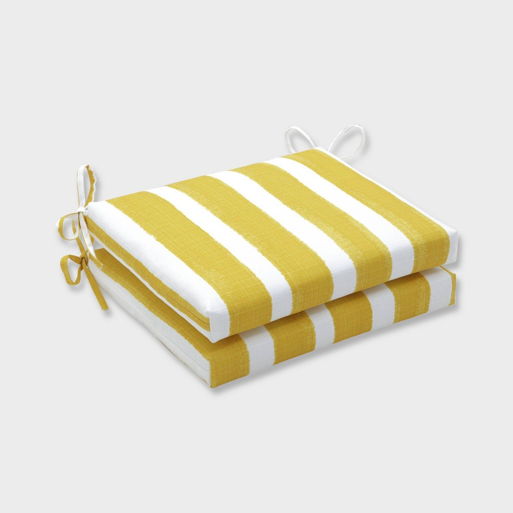 2pk Nico Pineapple Squared Corners Outdoor Seat Cushions Yellow Pillow Perfect