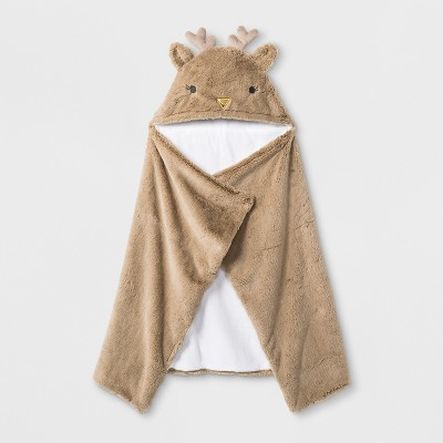 Baby Deer Hooded Towel - Cloud Island™ Brown One Size