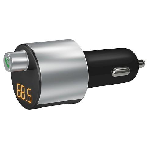 Just Wireless Bluetooth FM Transmitter & 2-Port USB Car Charger - Silver/Black : Target