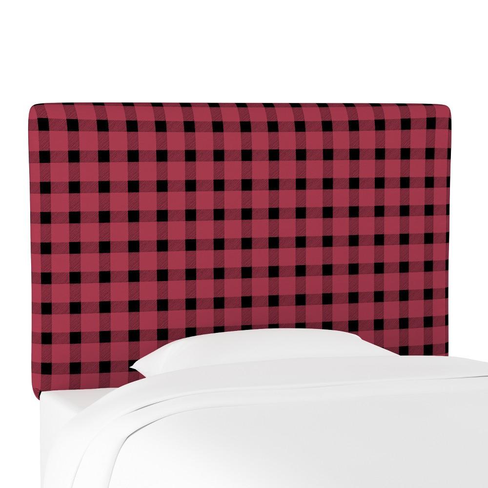 Kids Printed Upholstered Headboard Queen Black/Red Plaid - Pillowfort