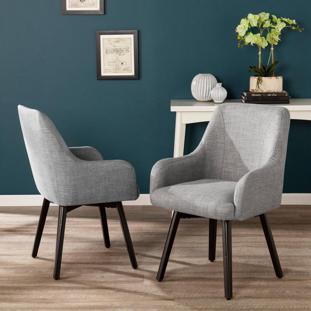 Image of 2pc Stineriss Swivel Arm Chair Gray - Aiden Lane