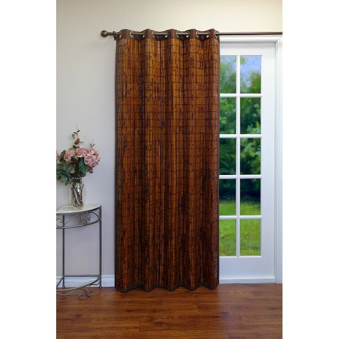 Curtain Panel Bamboo Grommet Top Brown