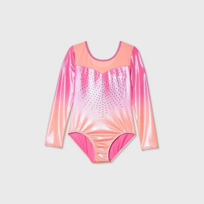 Girls' Ombre Gymnastics Long Sleeve Leotard - More Than Magic™ Orange/Pink