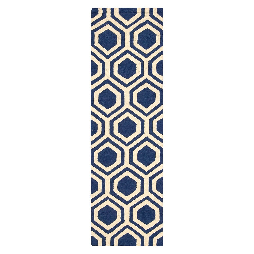 "Image of ""Nourison Hexagon Linear Accent Rug - Blue/Ivory (2'3""""X7'6"""" Runner)"""