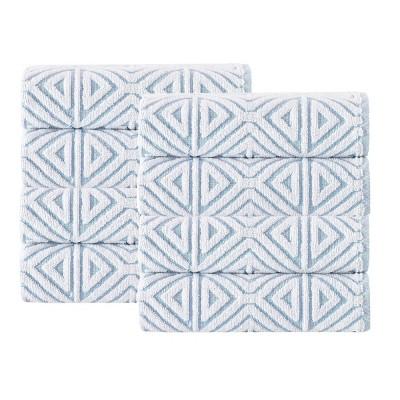8pc Glamour Turkish Cotton Hand Towel Set Turquoise - Enchante Home