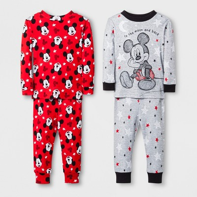 Baby Boys' Mickey Mouse 4pc Pajama Set - Grey 12M