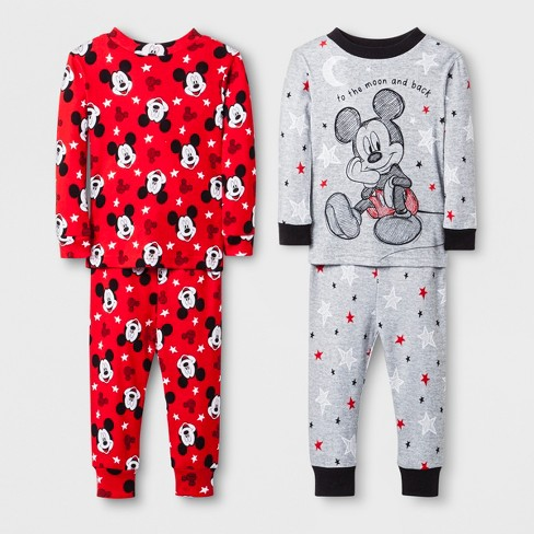 47f18fd68f6b Baby Boys  Mickey Mouse 4pc Pajama Set - Grey   Target