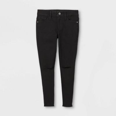 Girls' Slit Knee Mid-Rise Skinny Denim - art class™ Black