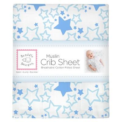 SwaddleDesigns Cotton Muslin Crib Sheet - Starshine - Blue
