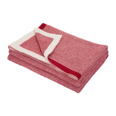 "60"" x 50"" Knitted Acrylic Throw Blanket Red and White - Glitzhome"