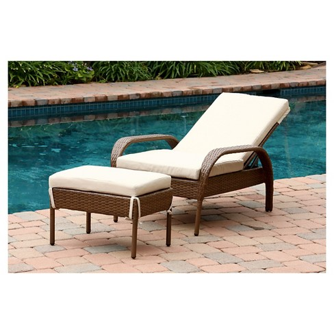 Manchester Outdoor 2pc Brown Wicker Chaise Lounge With Cushion And Ottoman Target
