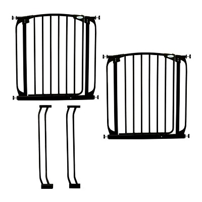 Dreambaby L786B Chelsea 28 to 39 Inch Auto-Close Baby Gate with Extensions and Stay Open Feature for Doors, Stairs, and Hallways, Black