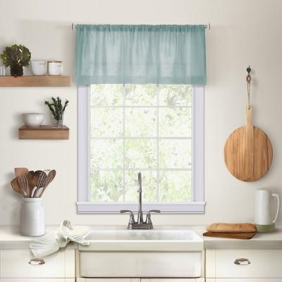Cameron Linen Rod Pocket Kitchen Window Valance 60 X 15 Mineral Blue Elrene Home Fashions Target