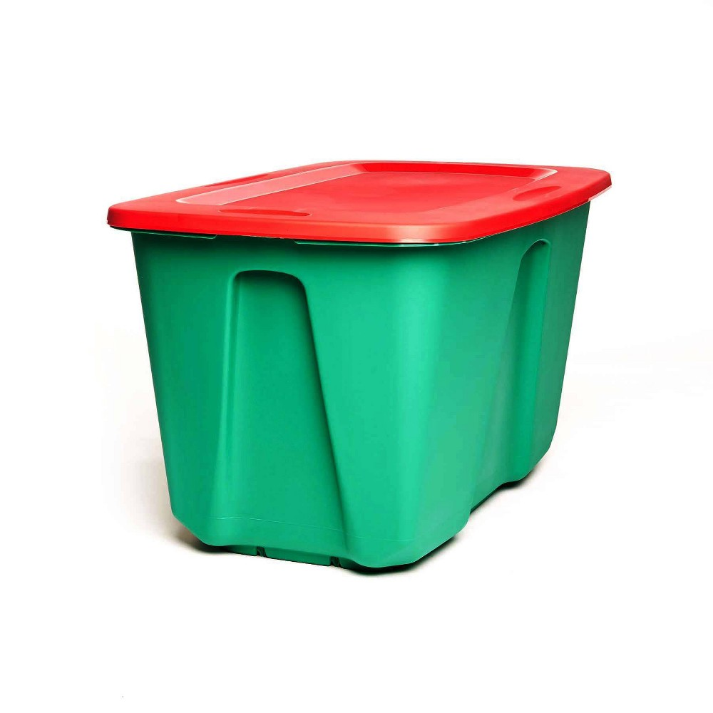 Image of 2pk 32gal Holiday Storage Tote - Homz, Green Red