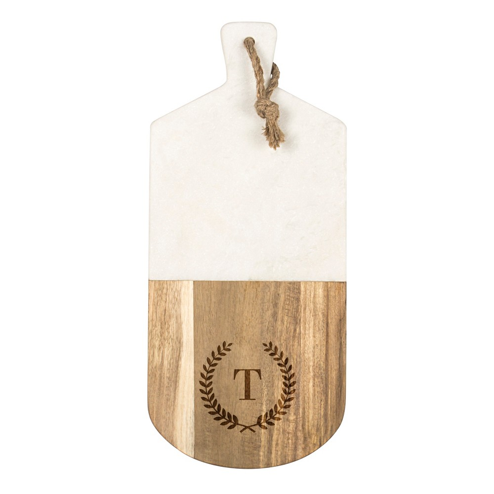 Cathy's Concepts Monogrammed Marble & Acacia Serving Board T, Brown White