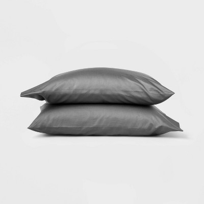 Standard 500 Thread Count Washed Supima Sateen Solid Pillowcase Set Dark Gray - Casaluna™