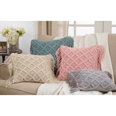 """18""""x18"""" Macramé Print Down Filled Square Throw Pillow - Saro Lifestyle : Target"""