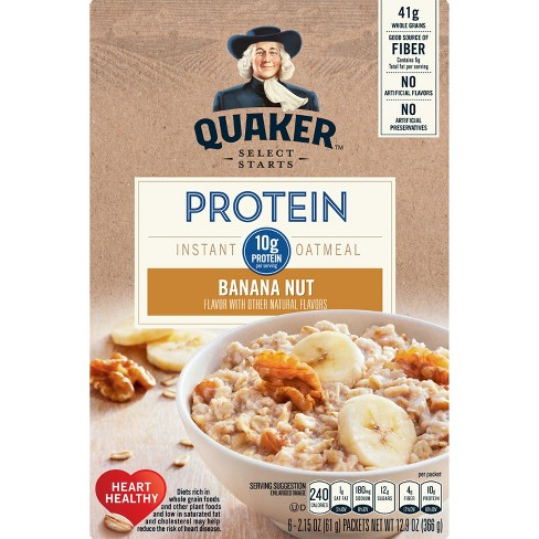 Quaker Instant Oatmeal Protein Banana Nut - 6ct - image 1 of 5