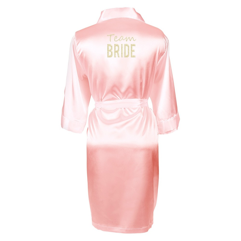 Image of Solid Pink Satin Robe (Large/X-Large), Size: Large/XL