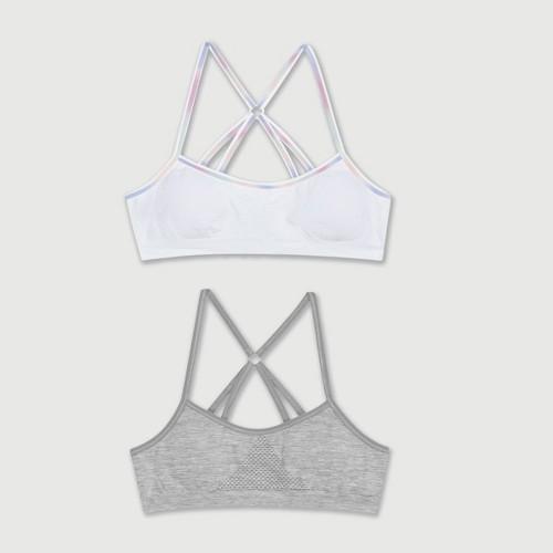 Hanes Girls' 2pk Seamless Strappy Racerback Bra - White XL