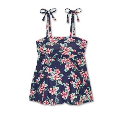 Maternity Floral Print Tie Strap Flyaway Tankini Top - Isabel Maternity by Ingrid & Isabel™ Navy
