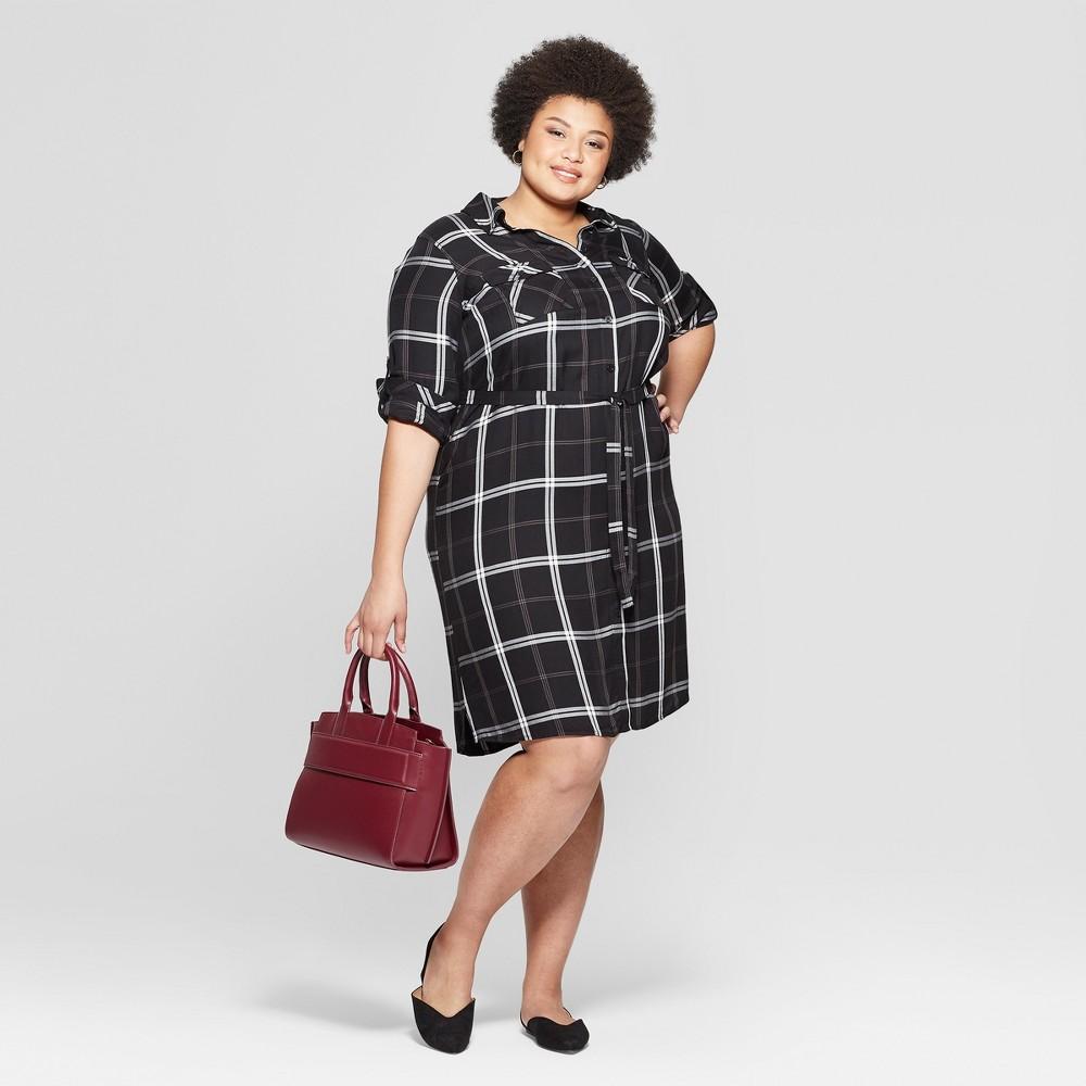 Best Price Women Plus Size Plaid Long Sleeve Collared Shirtdress Ava Viv Black 4X