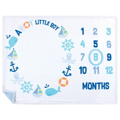 Hudson Baby Unisex Baby Plush Holiday and Milestone Blanket Ahoy Nautical One Size
