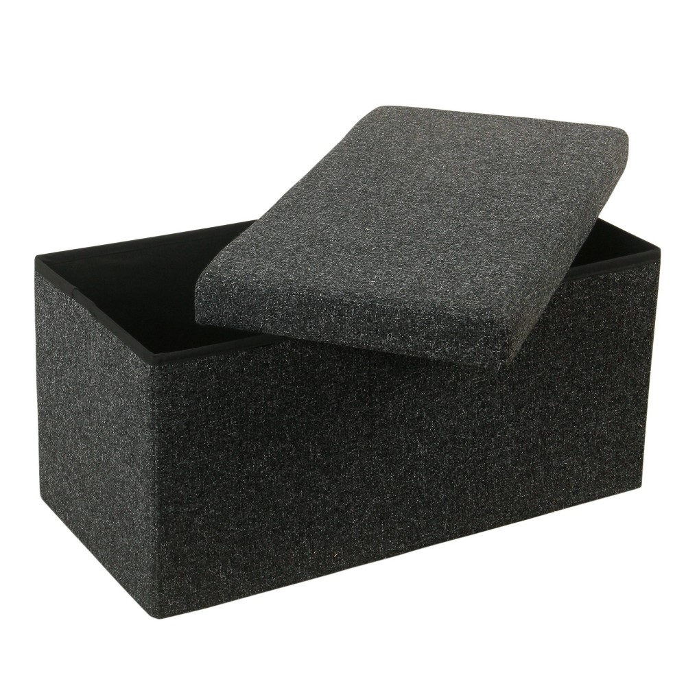 "Image of ""32"""" Collapsible Storage Bench Dark Gray - HomePop"""