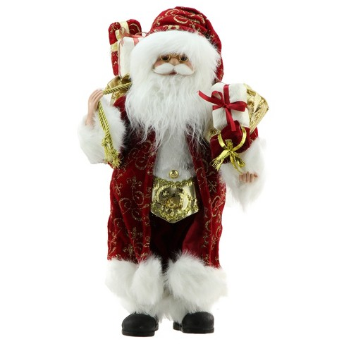 "Northlight 16"" Standing Santa Claus in Red and Gold Robe with Gifts Christmas Figure - image 1 of 1"