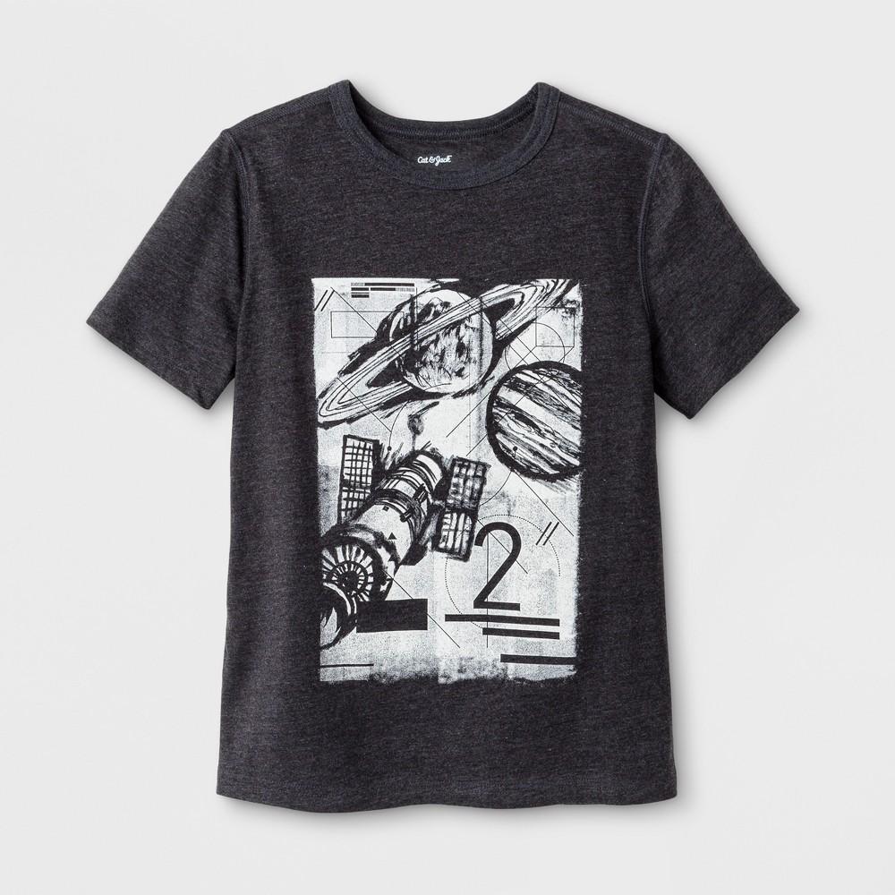 Boys' Adaptive Short Sleeve Space Graphic T-Shirt - Cat & Jack Black L