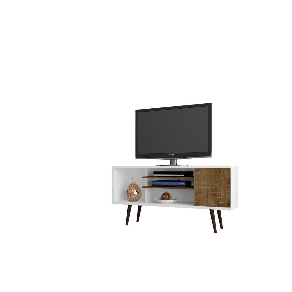 53.14 Liberty Mid Century Modern TV Stand White/Rustic Brown - Manhattan Comfort