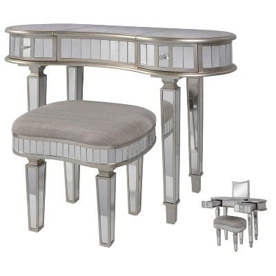 Mirror Vanity Set with Flip Top Center Storage Silver - Stylecraft