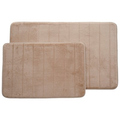 2pc Memory Foam Striped Bath Mat Set Taupe - Yorkshire Home