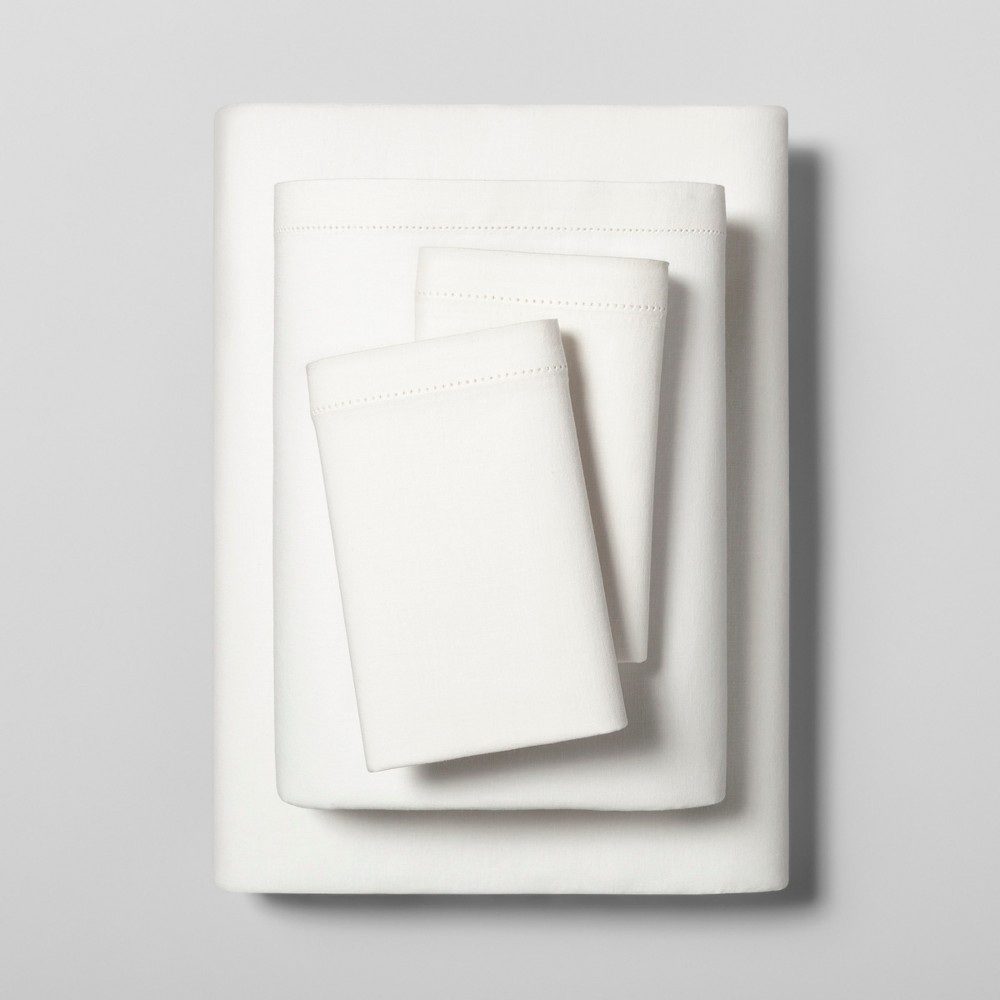 Image of Queen Sheet Set Linen Blend with Hem Stitch Solid Cream (Ivory) - Hearth & Hand with Magnolia