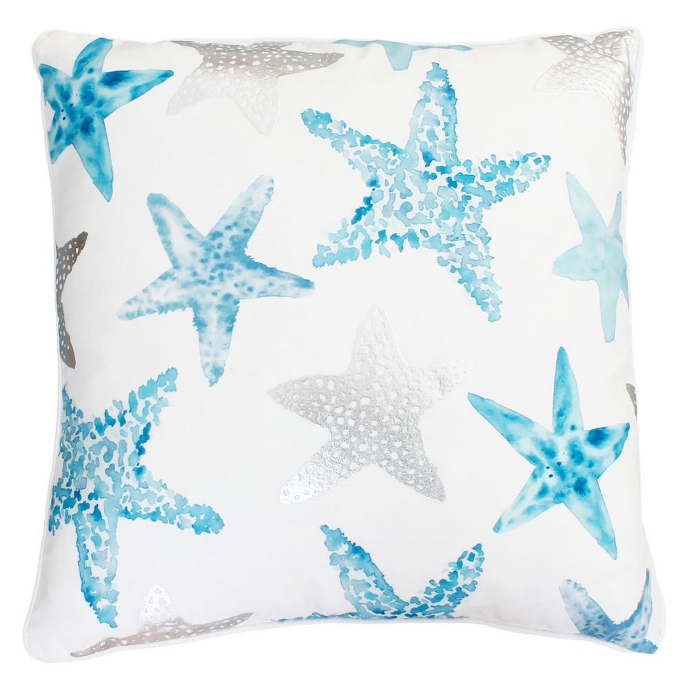 """Image of """"Décor Therapy 20""""""""x20"""""""" Todrina Starfish Throw Pillow White/Blue"""""""