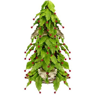 """Roman 18"""" Unlit Artificial Christmas Tree Holly Berry Leaf Cone"""