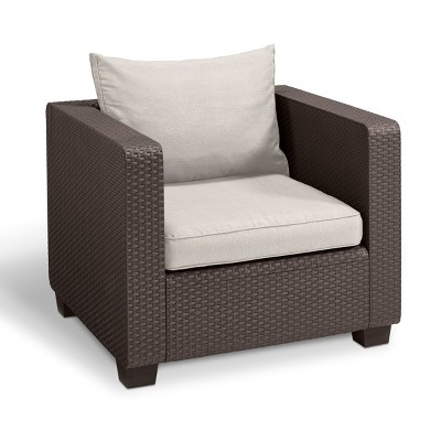 Salta Outdoor Resin Patio Armchair with Cushions Brown - Keter